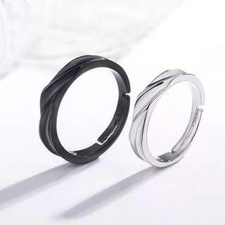 Couple classic wedding ring best match black and white adjustable free size