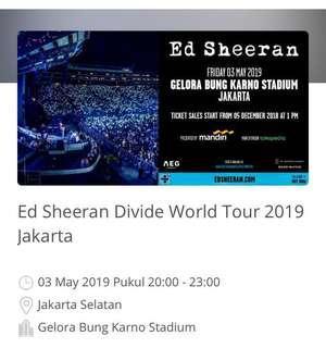Tiket Ed Sheeran Divide World Tour 2019