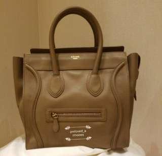 Celine Mini luggage dark beige handbag