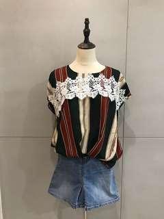 🚚 韓版條紋蕾絲雪紡上衣