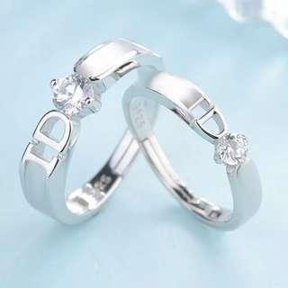 I Do couple wedding engagement austrian diamond rings adjustable free size