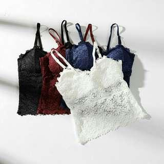 🚚 Lace back wrapped chest strap pad bra