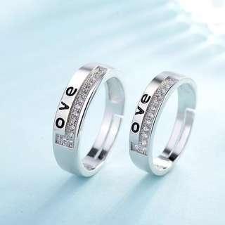 Couple wedding love austrian diamond rings adjustable free size