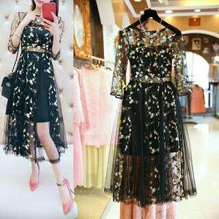 🚚 Embroidery floral transparent evening dress