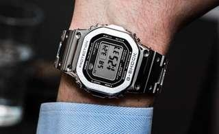 🚚 New Authentic Casio G-Shock Silver full metal bracelet GMW-B5000D-1 Watch with warranty