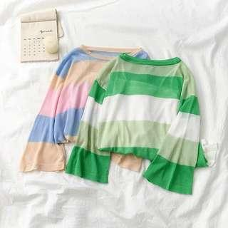 [PO] Korean Style Coloured Stripes Longsleeves Top