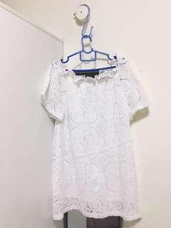 Off Shoulder Lace White Dress