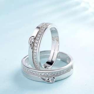 Couple heart suatrian diamond wedding rings adjustable free size