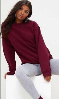 maroon / burgundy fluffy oversized jumper / sweater