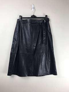French Connection Leather Look Mid Length Skirt