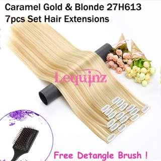Hair Extensions Clip On 7 Pieces Set Straight 60cm Caramel Gold & Blonde 27H613