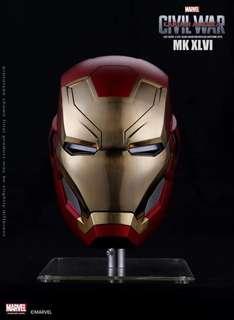 Marvel 官方正版 1/1全比例 美隊3內戰 鋼鐵俠MK46限量頭盔 金屬拉絲版 電動開合 不含展示支架