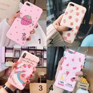 Korean Pink Strawberry Cake Soft Phone Case Cover Casing