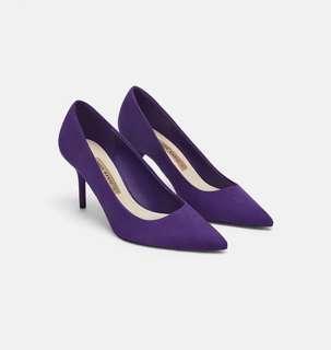 日本 ZARA 紫色麂皮高跟鞋38號