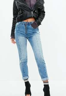 Missguided riot blue high rise zip front mom jeans