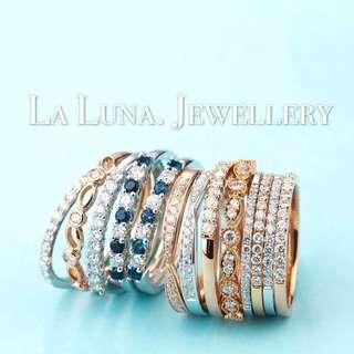 經典設計鑽石戒指排戒條戒拍戒 18k白金 全新 生日禮物 情人節 婚戒 女朋友