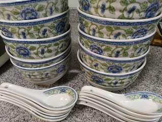 LAST CALL- porcelain Bowls and spoons