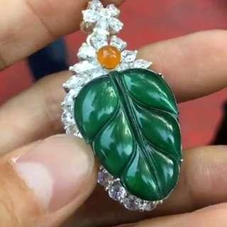 Jade Pendant 翡翠 Emerald Green Blue radiant