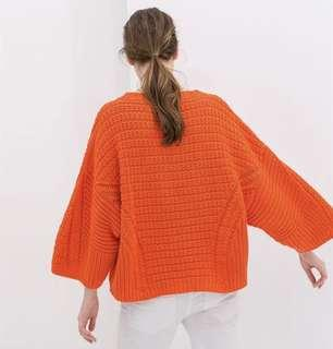 Zara Orange Chunky Knit Jumper