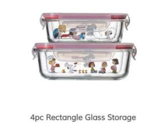 🚚 4pcs Rectangle Pyrex Snoopy container