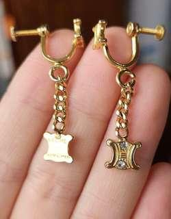 Celine vintage Earrings 100%real in 24k gold color 鍍金plated
