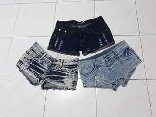 3 For $18=Denim Low waist sexy short..(may consider n switch with the same price if you don't like 1of the item)
