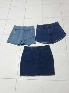 3 For $15=Denim Shorts,Skirt and Skort with mid waist stretchable.
