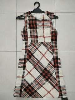 Saturday Club Shift Dress with Side Panel in Tartan