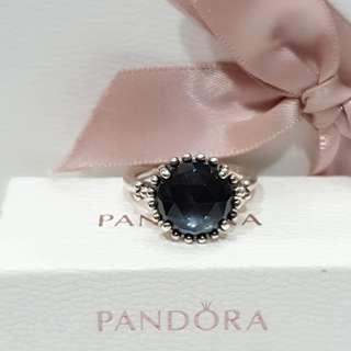 潘朵拉戒指 Pandora 54 藍水晶 絕版戒指