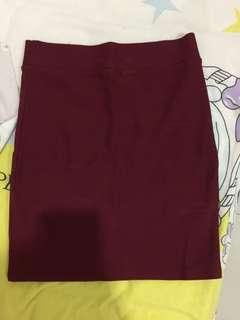 ❤️maroon fit body skirt mini
