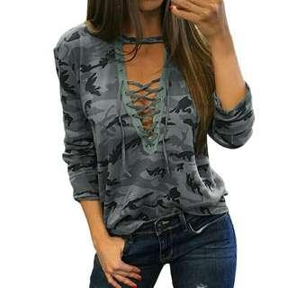 🚚 Tops lace V neck camouflage T shirt