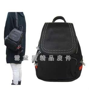 ~雪黛屋~COUNT 後背包超小型容量主袋+外袋共五層進口防水尼龍布+皮革主袋內二拉鍊暗袋BCD50002701360