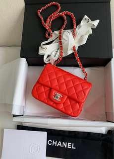 100% Brand New and Authentic CHANEL Square Mini Chain Shoulder bag, Full Set with Receipt, Red Lambskin