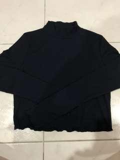 Black Frilled-Hem Mock Neck Long Sleeve