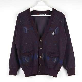 【GGM】YUNG SHIN PURE NEW WOOL CARDIGAN 古著羊毛大牌LOGO滿版圖騰針織開襟外套