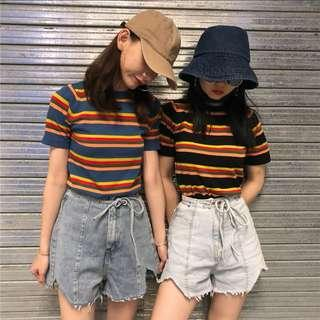 [po] knitted rainbow striped short sleeve tshirt