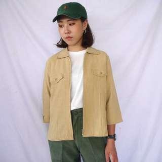 🌴90s日本製卡其色七分袖薄外套 女款Vintage 日本帶回古著