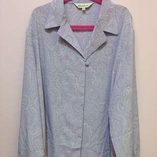 🚚 (含運)淡紫色變形蟲古著單釦上長袖襯衫上衣