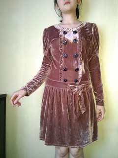 Vintage dress beludru (suede)