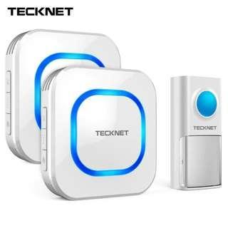 TeckNet Wireless Doorbell Twin Waterproof Wall Plug-in Cordless Home Door Chime Bell 150m Range 58 Chimes 4-Level Volume UK Plug