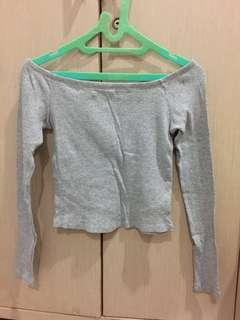 h&m off shoulder crop grey top sabrina