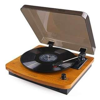 HOVAMP 3-Speed Turntable with Built-in Stereo Speakers RCA Output, Vintage Style Record Player - Oak