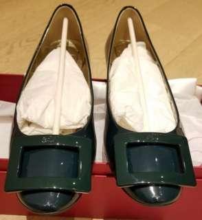 Roger Vivier gommette patent leather dark green ballerinas/ flats