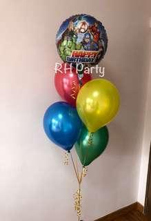 (9/4) Include Helium Marvel Avengers/ Justice league / Superheroes Happy Birthday Foil Balloon Bouquet