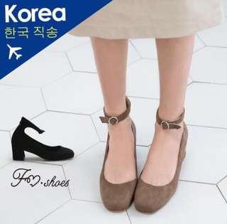 🚚 韓國 踝帶後拉鍊方頭高跟包鞋