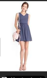 (On Sale).Courtyard Romance Dress In Muted Blue