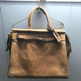 Polo Ralph Lauren vintage 真皮袋 leather tote duffle bag birkin travel bag Satchel bag