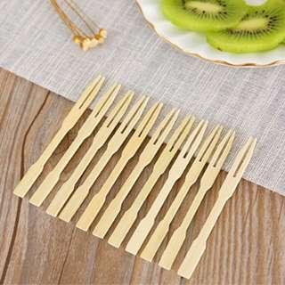 80PCS disposable bamboo dining fork