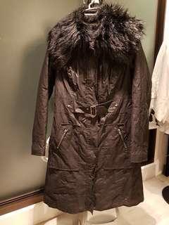🚚 長版仿毛皮領大衣