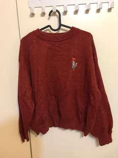 紅色狐狸 毛衣 材質很好摸不透風